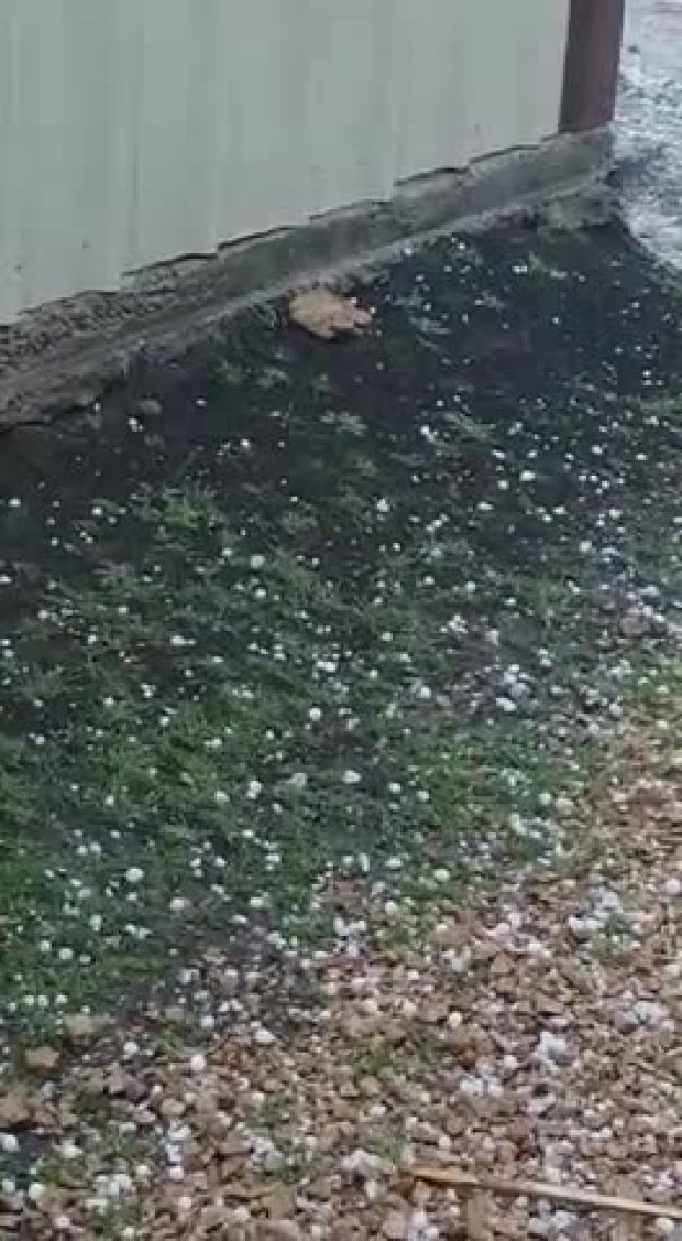Hail in Decatur TX earlier this evening