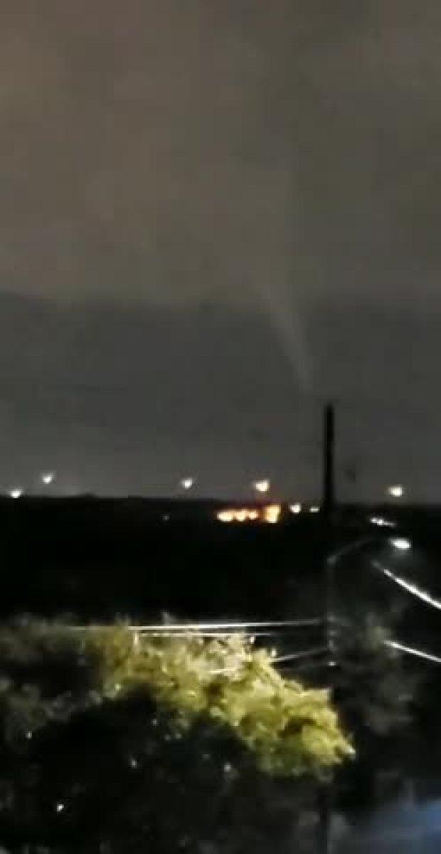 Tornado Back Lit by Lightning in Severe Storm
