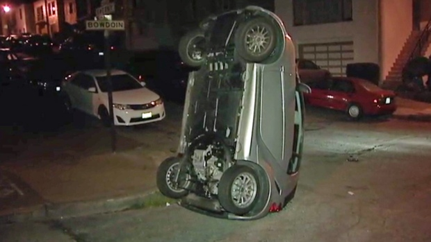 [PHOTOS] Smart Cars Flipped Over in San Francisco