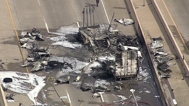 [DFW] Tractor-Trailer Crashes, Catches Fire in Lancaster