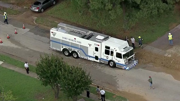 Fort Worth Fire Engine Falls Into Sinkhole While Responding