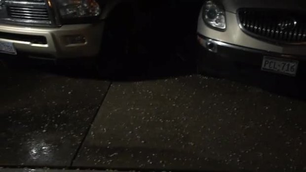 Hail this evening in Lewisville at about 958pm