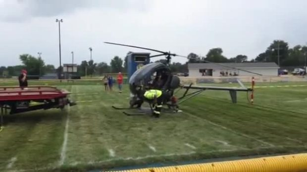 Helicopter Makes Emergency Landing on Suburban Football Field