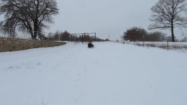 Senior sledding in Weatherford
