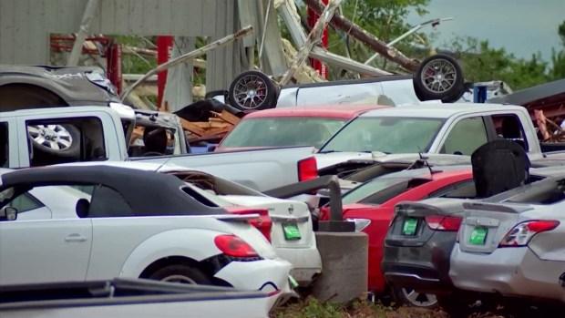 Car Dealership on I-20 Hit Hard by Tornado