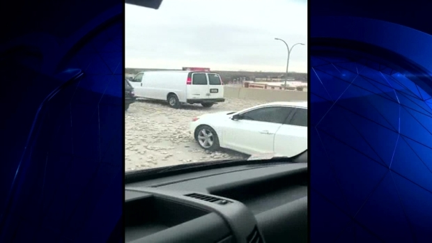 [DFW] Viewer Video: Cars Drive Over Rocks on I-635 TEXpress