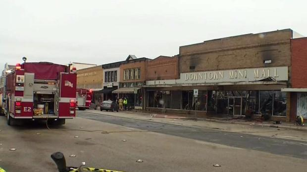 Large Fire Destroys Businesses on Historic Denton Square