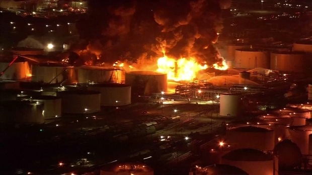 Crews Work to Control Fire at Petrochemical Plant Near Houston
