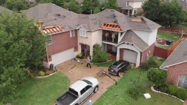 NBC 5 Drone Surveys Damage to Homes in North Fort Worth