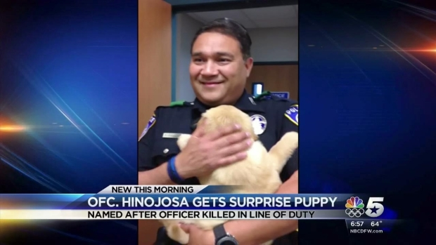 Cpl. Hinojosa Meets Hofer the Puppy