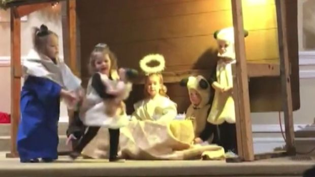 Preschoolers fight over baby Jesus in Nativity play