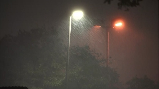 Raw: Powerful Rain in Downtown Dallas