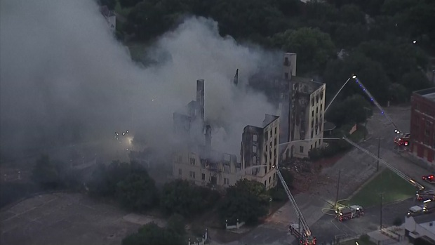 Raw: Massive Fire Destroys Ambassador Hotel in Dallas