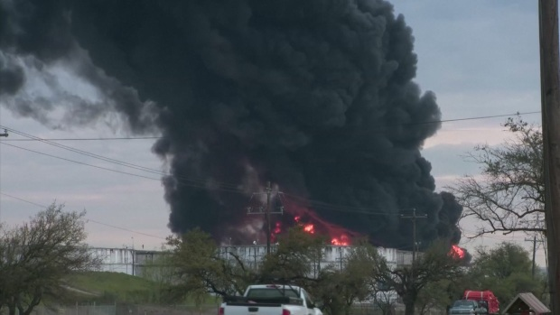 Raw: Fire Continues to Burn Monday at Houston-Area Refinery