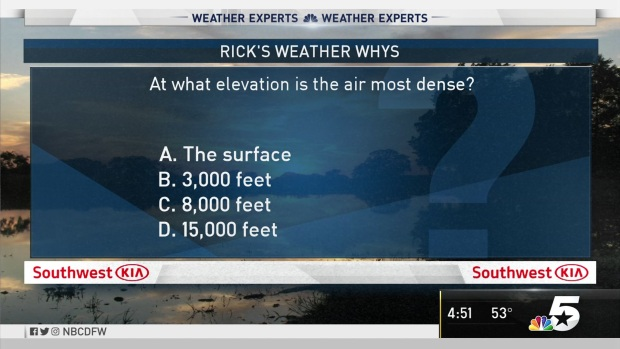 [DFW] Weather Quiz: At What Elevation is the Air Most Dense?