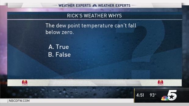 [DFW] Weather Quiz: Dew Point Temperatures