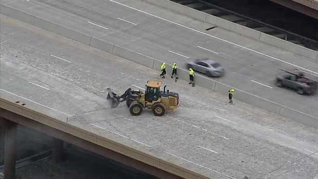 Raw Video: Rocks Spill Onto I-635 TEXpress Lanes
