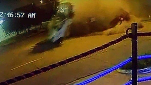 Raw Video: Errol Spence Jr. Crashes Ferrari in Dallas