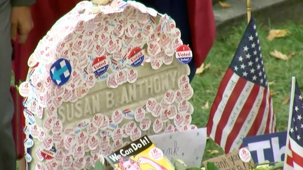 Crowd Gathers at Susan B. Anthony's Grave on Election Day
