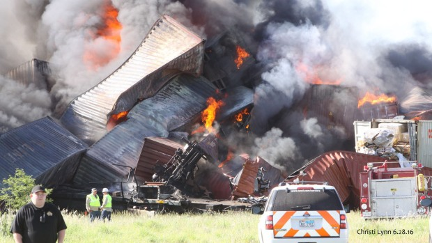 Photos Show Massive Fiery Train Collision in Panhandle