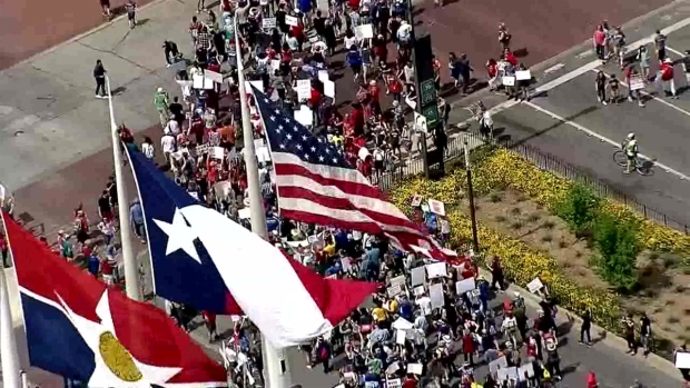 Texas Sky Ranger over March For Our Lives Event in Dallas
