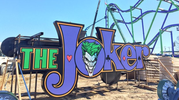 Workers Top Out The Joker Ride at Six Flags Over Texas