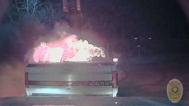 [NATL-DFW] Raw Video: Truck Fire Caught on Dash Camera