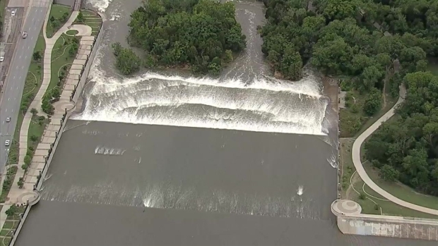 Chopper 5: Water Flowing at White Rock Spillway