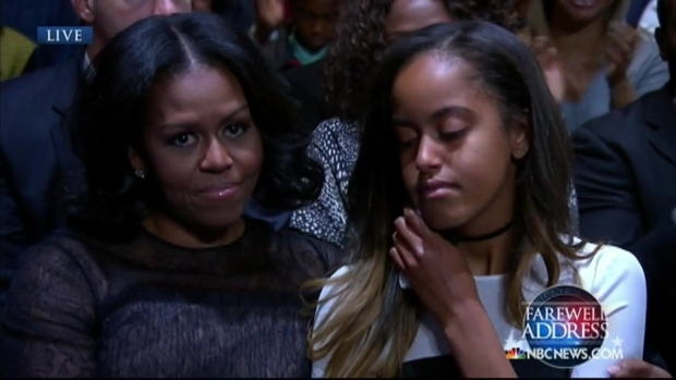 With Pride, Obama Thanks Daughters Sasha and Malia