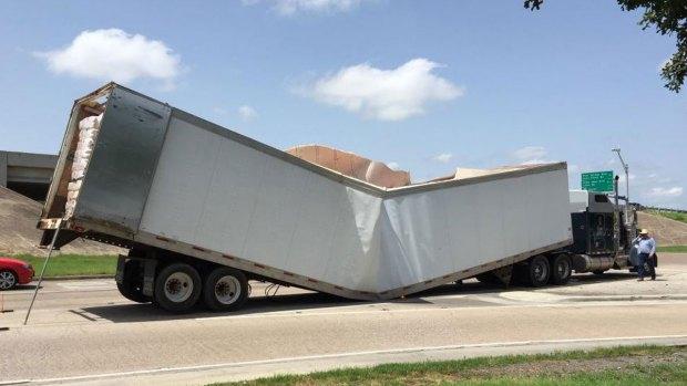 Overloaded Trailer Buckles in Arlington