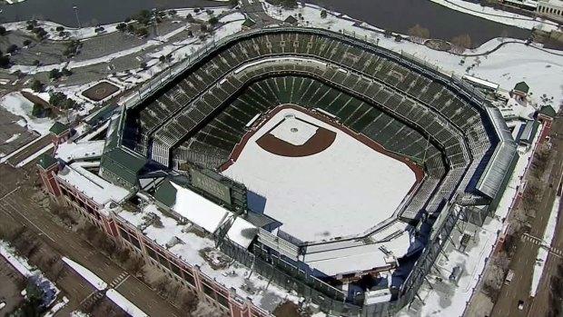Snow Covers Dallas, Arlington Stadiums