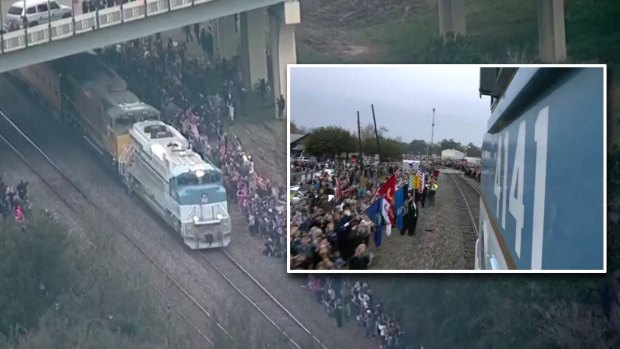 [DFW] A Texas Town Gathers on Train Tracks to Honor a President