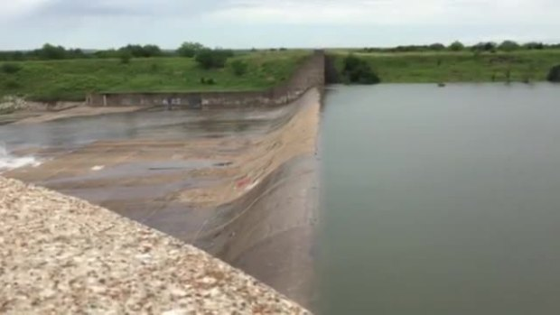 Lewisville Lake spillway starting to spill