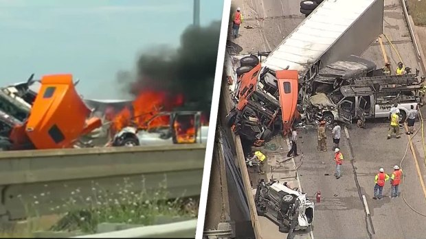 9 Injured in Fiery Crash; SB I-35W Closed in Fort Worth