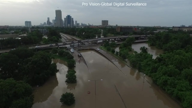 [NATL-DFW] Raw Video: Drone Surveys Houston Floods