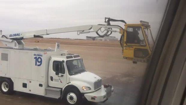 Deicing Underway at DFW International Airport