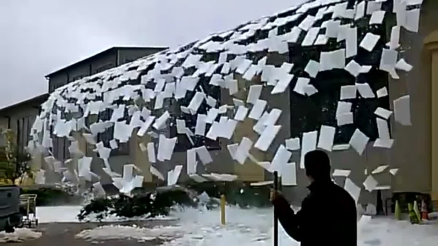 [DFW UGC] Must-See: Ice Falls Off Roof of Great Wolf Lodge
