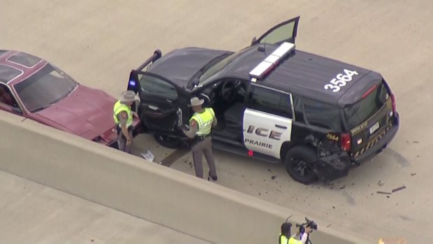 Grand Prairie Officer Hospitalized After Crash Along Texas 161 (Raw Video)