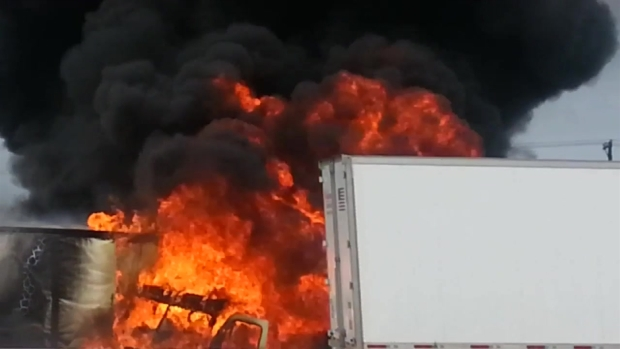 [DFW] Tractor-Trailer Catches Fire on I-35E (Raw Video)