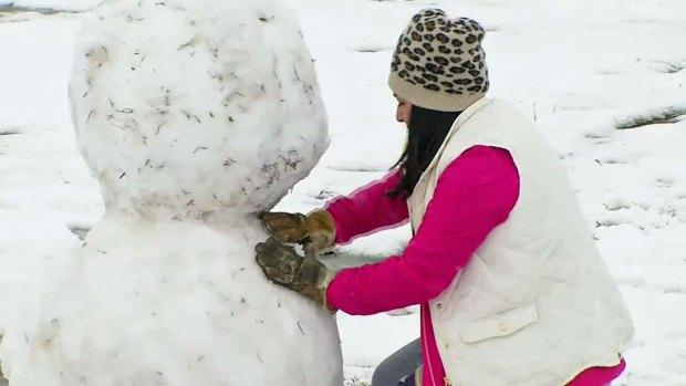 Maypearl Residents Enjoy Snowfall