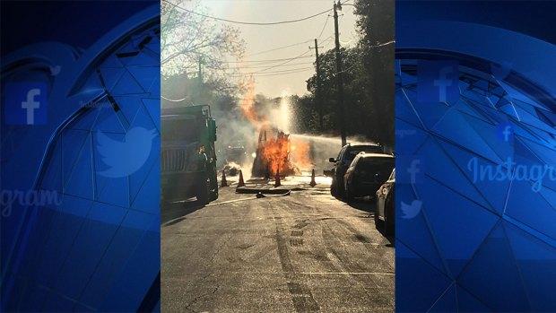 [DFW] Utility Crews Spark Gas Line Fire in Arlington