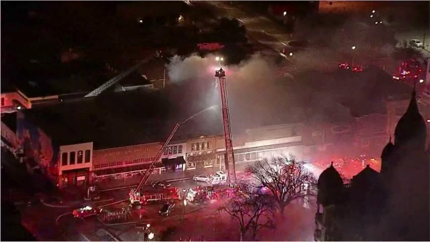 Raw: Fire Destroys Businesses on Historic Denton Square