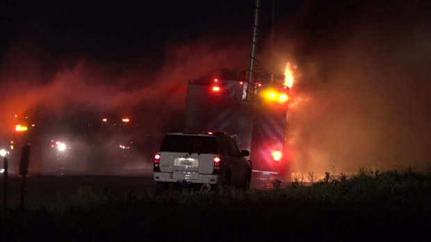 FW Fire Vehicle Catches Fire at Scene of Train Derailment