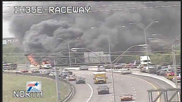 [DFW] Fiery Accident Closes I-35E in Dallas