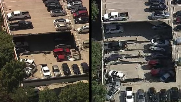 Watch a Side-By-Side Comparison of the Parking Garage Collapse in Irving
