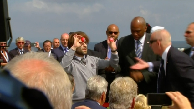 [NATL] Man With Swastika-Painted Golf Balls Interrupts Trump in Scotland