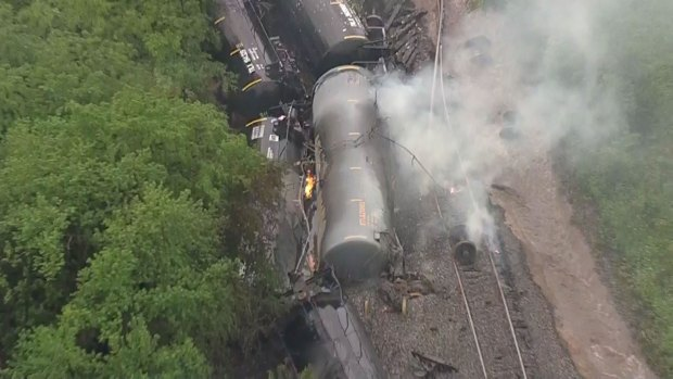Dramatic Photos of Smoldering Train Car Pileup in Fort Worth