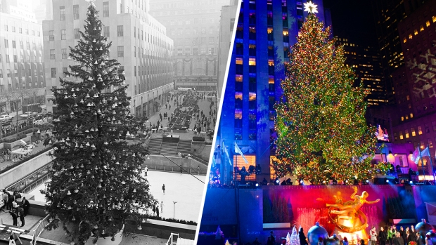 [NATL] Dazzling Rockefeller Center Christmas Trees From Years Past - Sprucing Up In NYC: Rockefeller Center Lights Christmas Tree - NBC 5