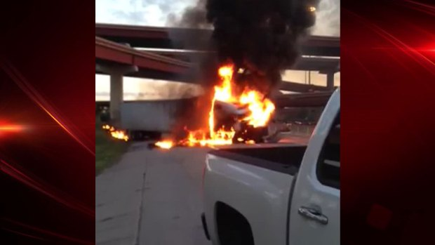 VIEWER VIDEO: US-75 Truck Fire Closes Lanes