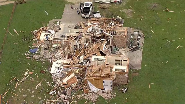 Texas SkyRanger Over Tornado Damage in Van Zandt, Kaufman Co